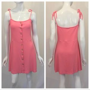 Topshop Bubblegum Pink Tie Strap Button Down Dress